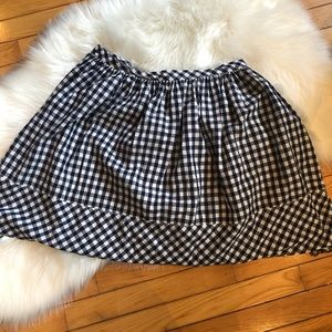 Norma Kamali Gingham Blue White Skirt 12